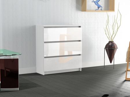 Komoda Rico 3 szuflady biała z połyskiem 60cm