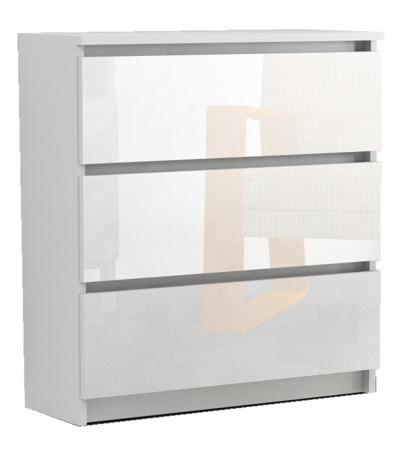Komoda Rico 3 szuflady biała z połyskiem 70cm