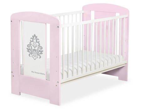 Łóżeczko Glamour 120x60cm Różowo-szare 5015-08-1