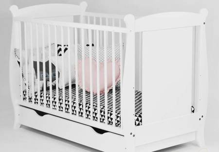 Łóżeczko Laura 120x60 Białe z szufladą