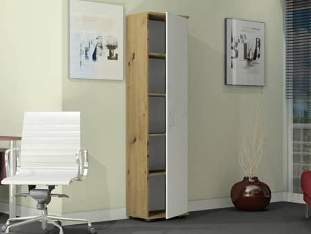 Regał biurowy G 30 1D Dąb Artisan z białymi drzwiami