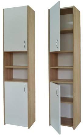 Słupek łazienkowy Adaś 2D 40 cm Sonoma z białymi drzwiami