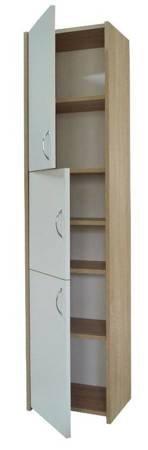 Słupek łazienkowy Adaś 3D 40 cm Sonoma z białymi drzwiami
